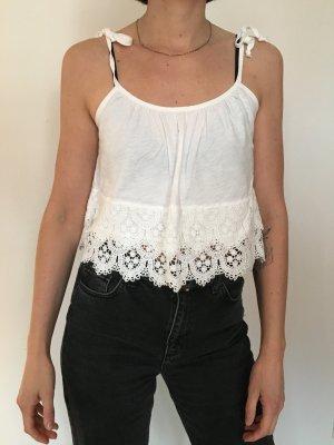 Zara Trafaluc Top de encaje blanco
