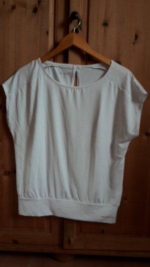 Weißes Sportshirt mit Fledermausärmeln, Größe S