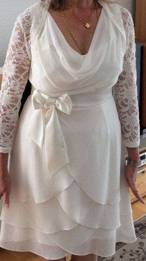 Weißes Standesamt Kleid Gr. 40 mit Spitzenbolero