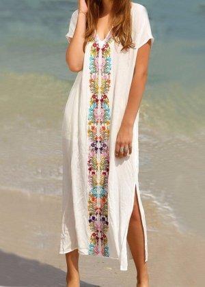 weißes Strandkleid Überwurf Bikini Ethno Boho Hippie Kaftan Kimono Poncho Kleid weiß Stickerei One Size Einheitsgröße