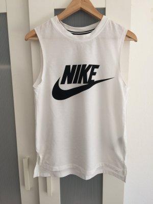 weißes stylisches NIKE Print-Shirt ärmellos Größe XS Unisex