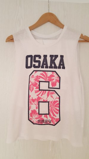 """Weisses Superdry Tanktop """"Osaka"""" in Gr. XS"""