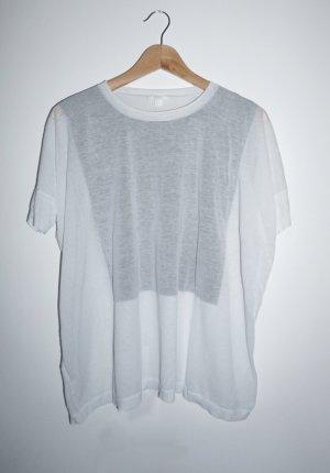 COS T-shirt blanc-gris clair