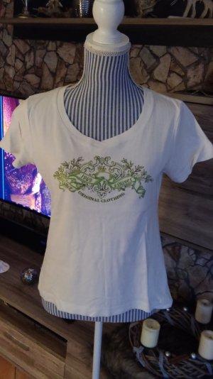 Weisses T-Shirt m. Glitzer Gr. 40 L s.Oliver