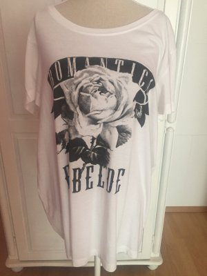 Weißes T-Shirt mit Audruck Rosen