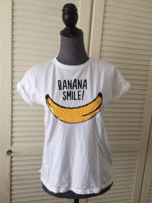 Weißes T-Shirt mit Bananen Print und Pailletten Frucht