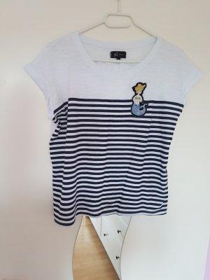 Weißes T-Shirt mit blauen Streifen und einer Meerjungfrau