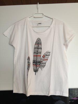 Weißes T-Shirt mit Federn