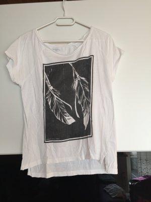 Weißes T-Shirt mit Federprint