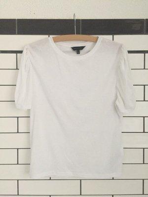 Weißes T-shirt mit kürzen Ballon-Ärmeln