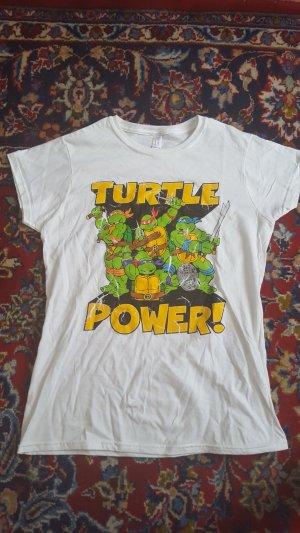 weißes T-Shirt mit Ninja Turtles Aufdruck in Größe L