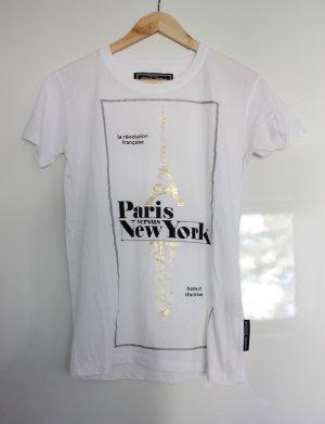 weißes T-Shirt mit Print Aufdruck Paris New York gold schwarz