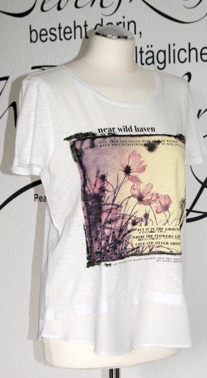 Weißes T-Shirt mit Print und Chiffon-Saum
