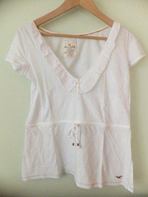 Weißes T-Shirt mit Rüschen von Hollister