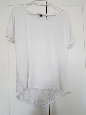 Weißes T-Shirt mit Spitze