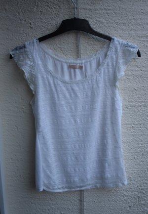 Weißes T-Shirt mit Spitze M