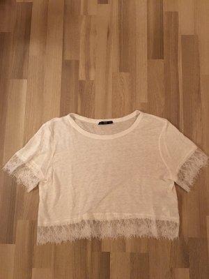 Weißes T-Shirt mit Spitze Zara
