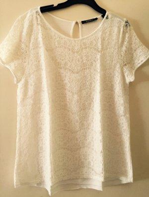 Weißes T-Shirt mit Spitzenbesatz