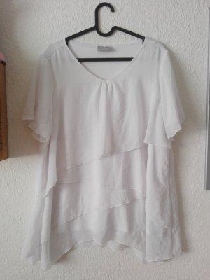 Weißes T-Shirt V-Ausschnitt locker sitzend in Größe 44 / L
