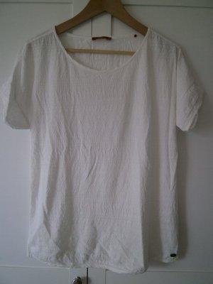 Weißes T-Shirt von edc by Esprit mit hübschem Muster, Größe L