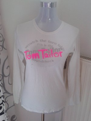 weisses Tom Tailor Shirt mit pinkem Schriftzug 36/38
