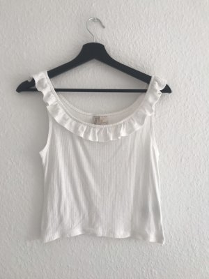 H&M Divided Frill Top white