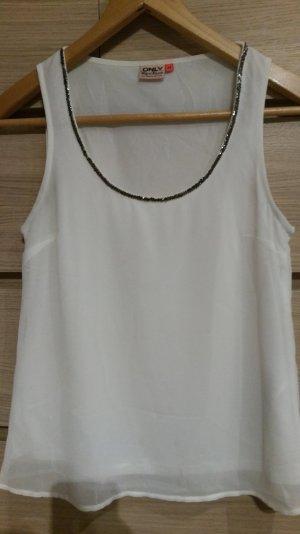weißes Top/Bluse mit Glitzerkragen von Only; Größe XS