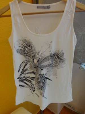 weißes Top mit grau-schwarzem Blumendruck