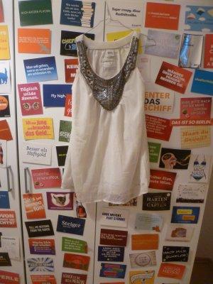 Weißes Top mit Pailetten und Perlen, Bluse, Glitzer, Oversize, Party, Blogger