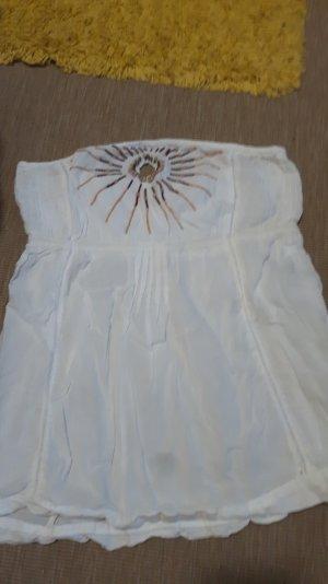 weißes Top mit perlen trägerlos