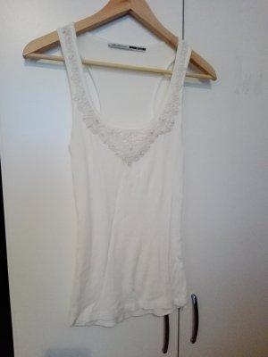 Weißes Top mit Perlenstickerei von Stradivarius 34 36 XS S T-Shirt leicht luftig Sommer