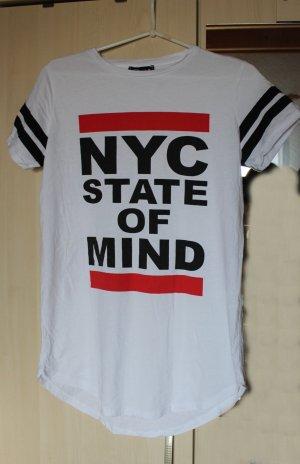 """Weißes Top mit rot schwarzem Schriftzug """"NYC"""", Gr. M"""