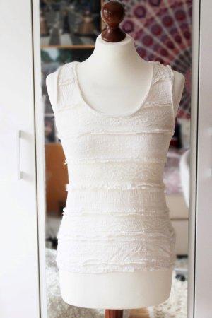 Weißes Top mit Spitze Basic H&M 36 S