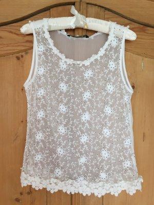 Weißes Top mit tollen Details von Zara