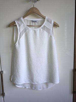weißes Top mit transparentem Rücken von Zara