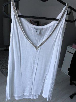 H&M T-shirt col en V blanc