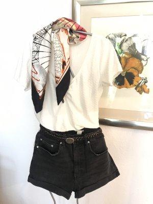 H&M T-shirt col en V blanc-crème