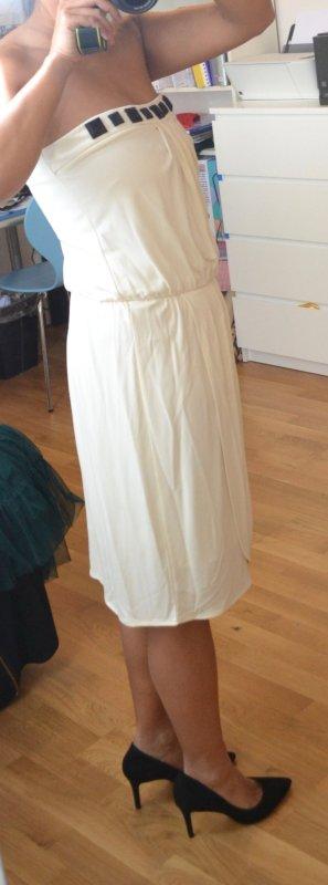 Weißes Trägerloses Kleid Mango Gr. M