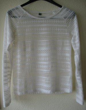 Weißes transparentes Langarm-Shirt mit schönem Netzmuster