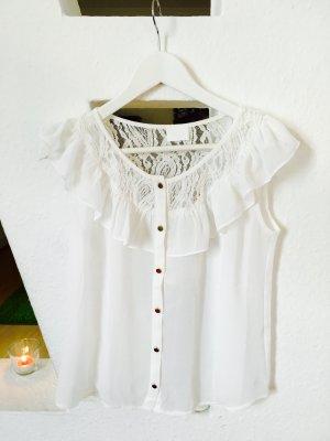 weißes, transparentes Top mit Spitze