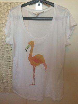 Weißes Tshirt Flamingo H&M L 42