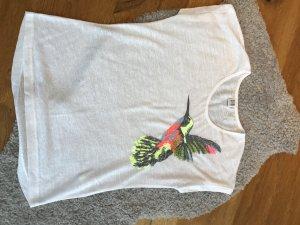 Weißes Tshirt mit Kolibri von Saint Tropez