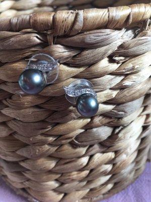 Pendientes de oro color plata-gris antracita