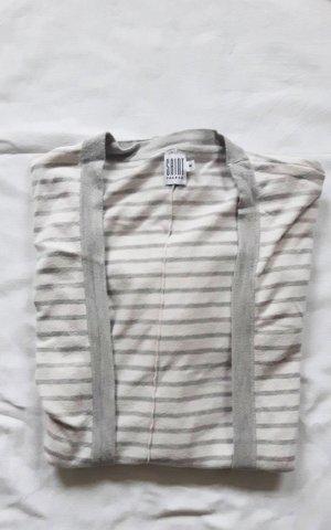 weißgrau gestreifter Cardigan im Oversized Look aus Baumwolle