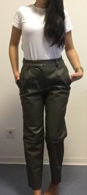 H&M Leather Trousers olive green-khaki