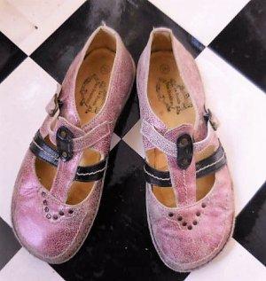 Ballerines à lacets violet-vieux rose cuir