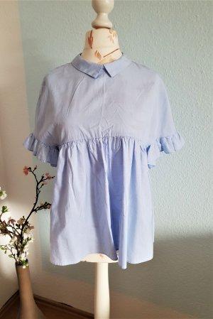 Zara Oversized blouse lichtblauw-azuur Katoen
