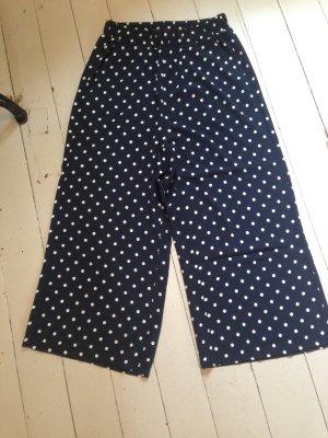 Pantalone culotte bianco-blu scuro Viscosa