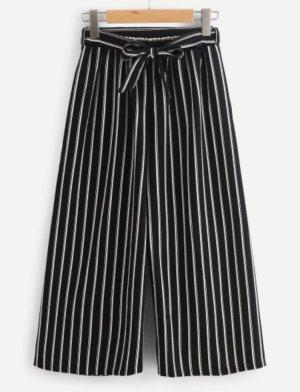 Pantalón tobillero blanco-negro
