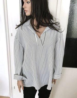 ◉ Weite, lange Hemd Bluse s/w gestreift ◉